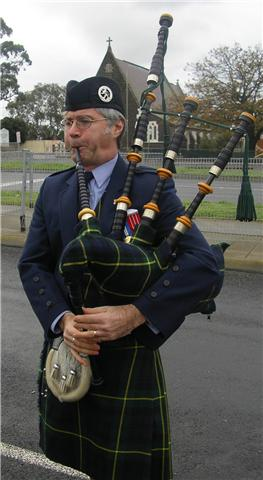 Lionel Boxer bagpiping for a VSR Association Function