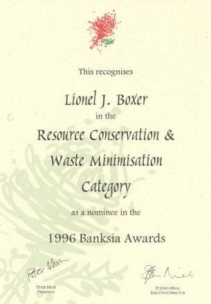 Click here to see Banksia award nomination certificate